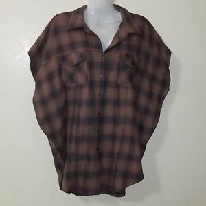 Jack flannel brown med button down pull over top